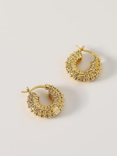 14k Gold Brass Hollow Geometric Vintage Hoop Earring