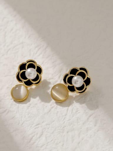 Brass Cats Eye Geometric Vintage Drop Earring