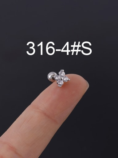 4S Stainless steel with Cubic Zirconia Ear Bone Nail/Puncture Earring
