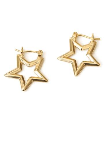 stars Brass Hollow Star Vintage Drop Earring