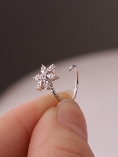 Brass Cubic Zirconia White Flower Minimalist Hoop Earring
