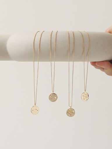 Brass Minimalist  Twelve constellations Pendant Necklace