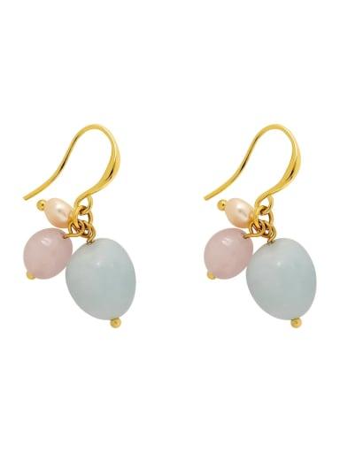 Brass Freshwater Pearl Geometric Cute Hook Earring