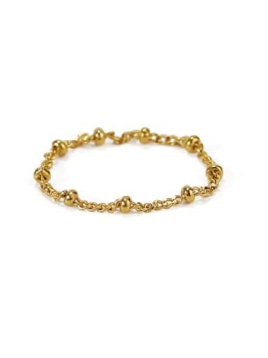 Golden pearl chain Brass Bead Geometric Minimalist Midi Ring