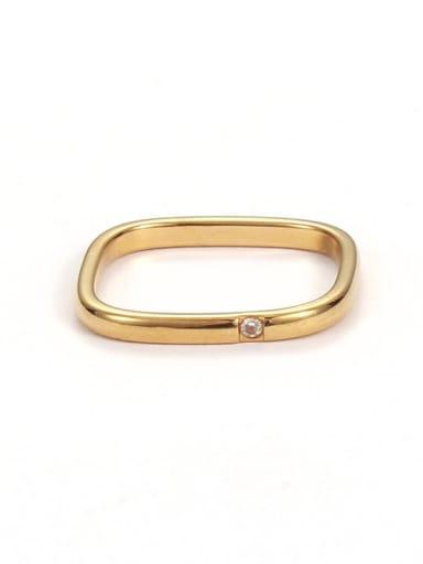 Brass Rhinestone Geometric Minimalist Band Ring