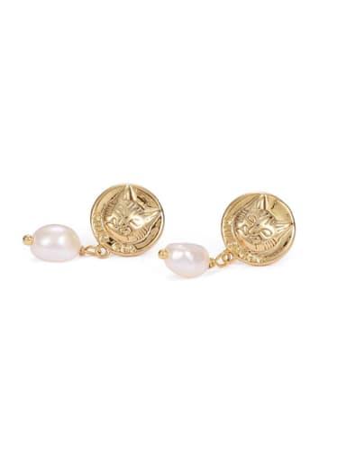 Brass Freshwater Pearl animal Vintage Drop Earring