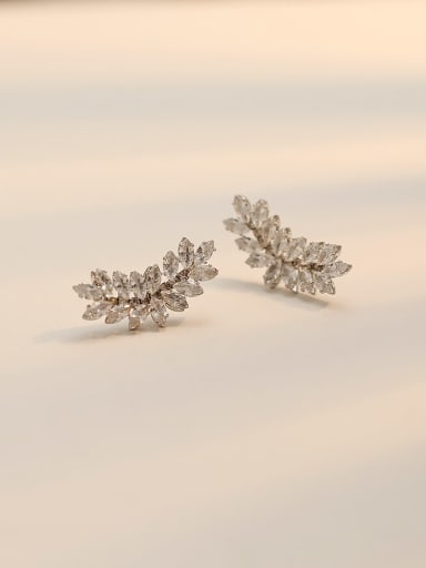 white K Copper Cubic Zirconia Geometric Dainty Stud Trend Korean Fashion Earring
