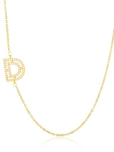 D Brass Cubic Zirconia Letter Minimalist Necklace