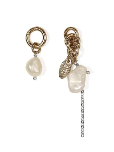 Brass Freshwater Pearl Asymmetric Irregular Vintage Chandelier Earring