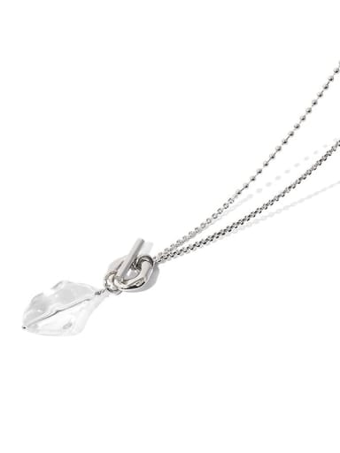 Brass Hip Hop  Transparent  Natural stone Long OT buckle Lariat Necklace