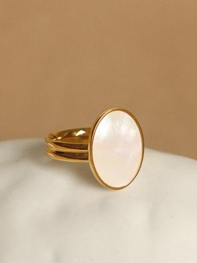 Brass Shell Oval Minimalist Band Ring