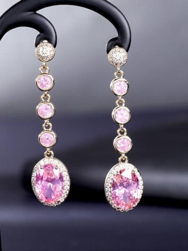 Pink Brass Cubic Zirconia Water Drop Luxury Drop Earring