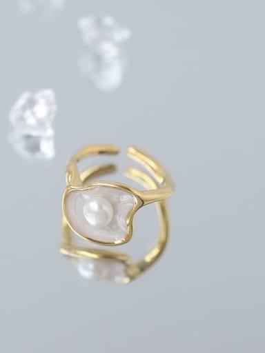 Brass Enamel Imitation Pearl Geometric Minimalist Band Ring