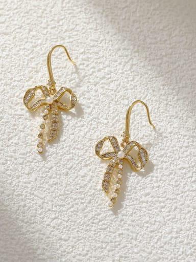 Brass Cubic Zirconia Bowknot Minimalist Hook Earring