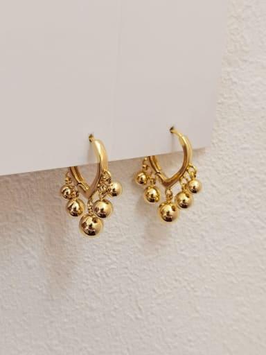 Brass Bead Ball Vintage Huggie Earring