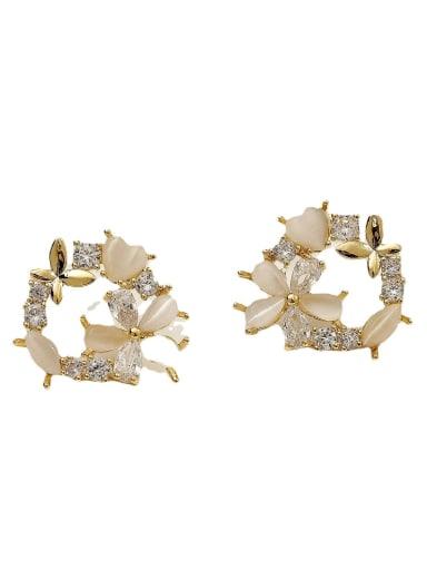 Brass Cats Eye Flower Cute Stud Earring