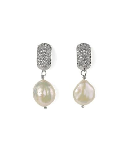White gold Brass Freshwater Pearl Geometric Classic Chandelier Earring