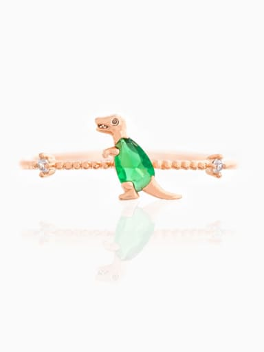 Green rose gold Brass Cubic Zirconia Multi Color Dragon Cute Band Ring