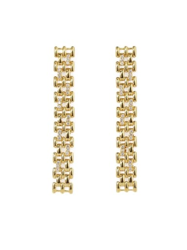 golden Brass Cubic Zirconia Tassel Vintage Drop Earring