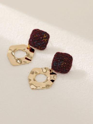 14k Gold +Red Brass Leather Geometric Vintage Drop Earring