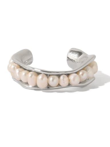 Brass Imitation Pearl Geometric Vintage Band Ring