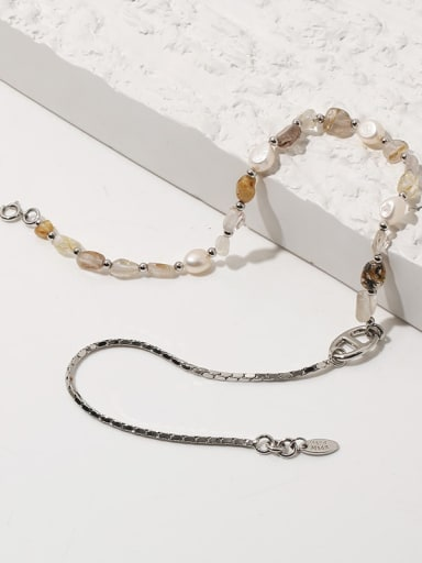 Brass Freshwater Pearl Geometric Vintage Necklace