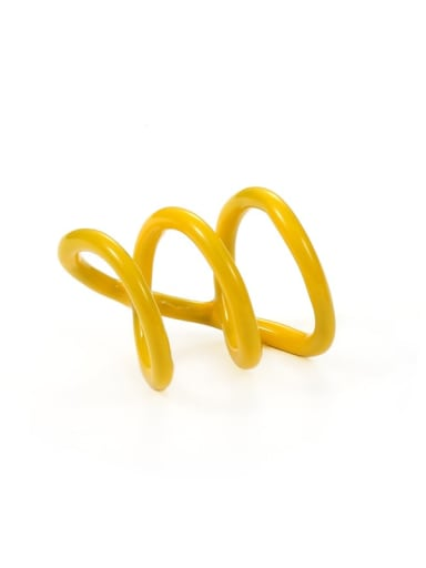 Yellow Zinc Alloy Enamel Geometric Minimalist Stackable Ring