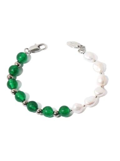 Brass Imitation Pearl Geometric Hip Hop Beaded Bracelet