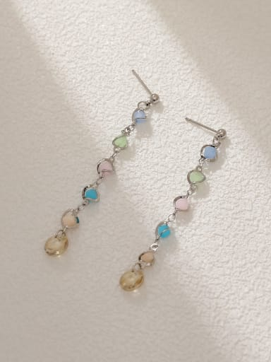 White K Brass Cubic Zirconia Tassel Minimalist Threader Earring