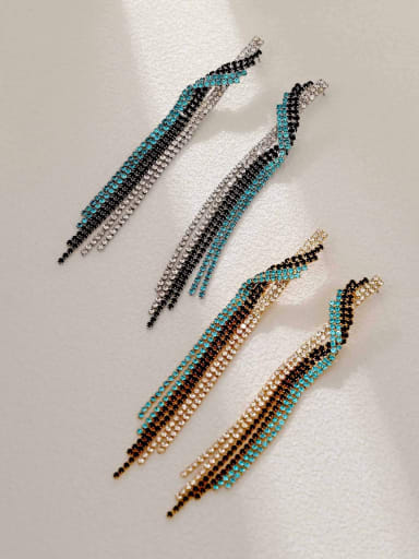 Brass Cubic Zirconia Tassel Vintage Threader Earring