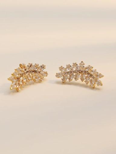 14K  gold Copper Cubic Zirconia Geometric Dainty Stud Trend Korean Fashion Earring