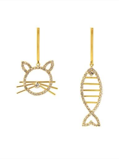 Brass Cubic Zirconia Cat  FishVintage Drop Earring