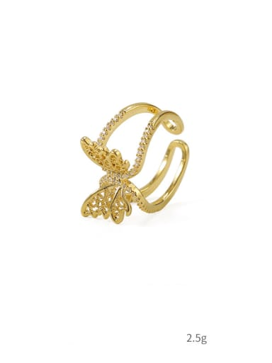 Section 3 Brass Cubic Zirconia Butterfly Vintage Band Ring