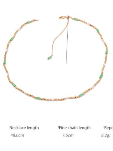 Detail Brass Imitation Pearl Geometric Hip Hop Beaded Necklace