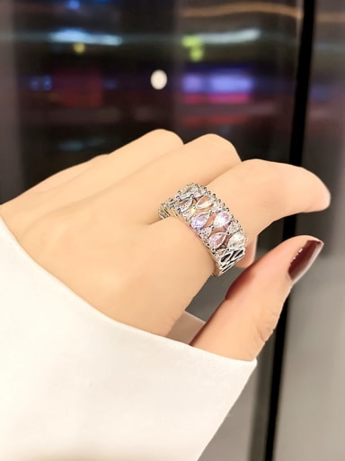 Silver.Water Alloy Cubic Zirconia White Geometric Trend Band Ring/Free Size Ring