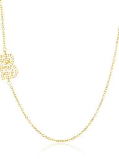 B Brass Cubic Zirconia Letter Minimalist Necklace