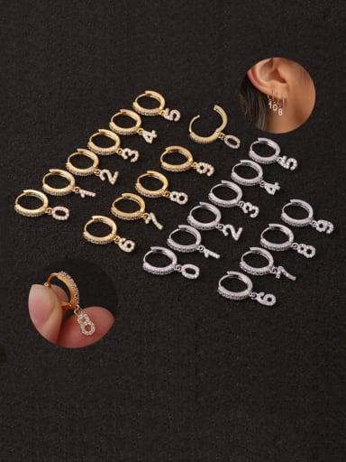 Brass Cubic Zirconia Number Hip Hop Huggie Earring
