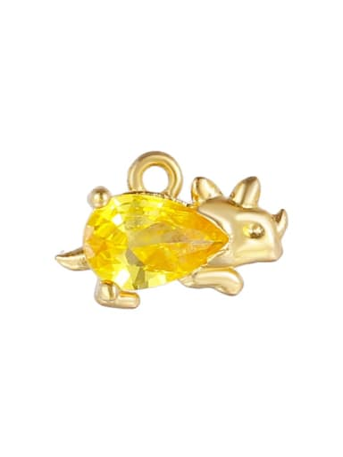 Yellow (gold) Brass Cubic Zirconia Multi Color  Dragon Cute DIY Charms