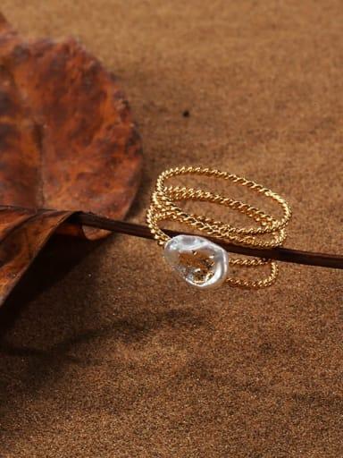 Brass Freshwater Pearl Irregular Vintage Stackable Ring