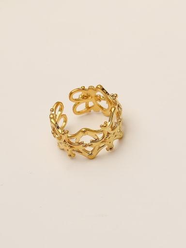 Brass Hollow  Flower Minimalist Band Ring