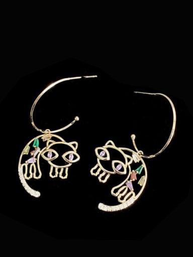 Brass Cubic Zirconia Multi Color Cat Cute Hook Earring
