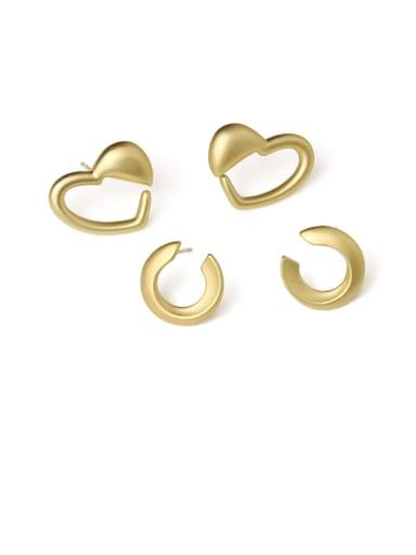 Brass Hollow Heart Minimalist Stud Earring