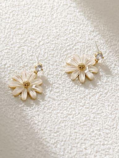 14k Gold +White Brass Resin Flower Minimalist Stud Earring