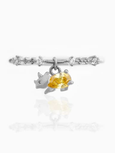 Yellow white K Brass Cubic Zirconia Multi Color Dragon Cute Band Ring