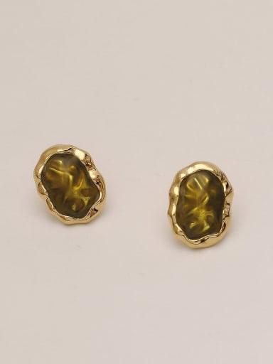 Reed green Brass Glass Stone Geometric Ethnic Stud Earring