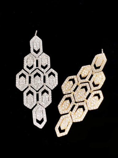 Brass Cubic Zirconia Geometric Hip Hop Cluster Earring