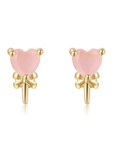 Peach heart lollipop Brass Cubic Zirconia Multi Color Irregular Cute Stud Earring