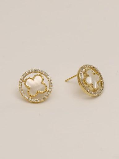 Brass Shell Flower Minimalist Stud Earring