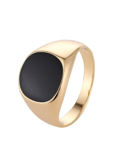 golden Zinc Alloy Acrylic Geometric Vintage Band Ring