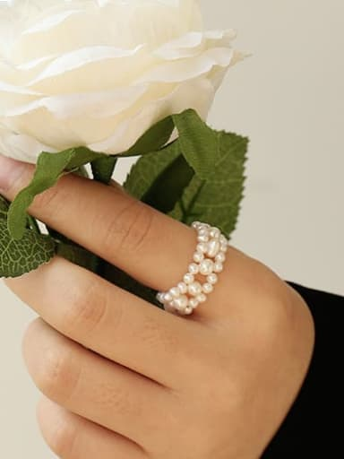 Brass Freshwater Pearl Round Vintage Band Ring